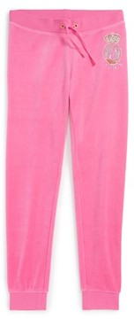Juicy Couture Girl's Scotty Crest Zuma Velour Pants