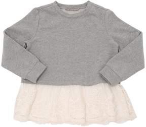 Ermanno Scervino Cotton Sweatshirt W/ Lace