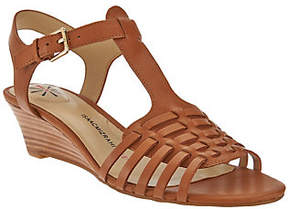Isaac Mizrahi Live! Leather Fisherman Low WedgeSandals