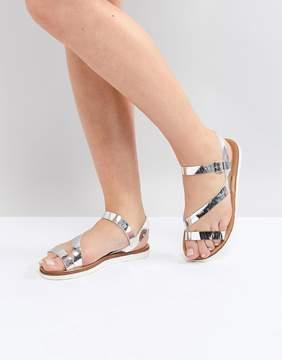 Head Over Heels by Dune Metallic Silver Flat Sandals