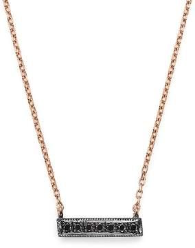 Black Diamond Dana Rebecca Designs Sylvie Rose Mini Bar Necklace in 14K Rose Gold and Black Rhodium, 16
