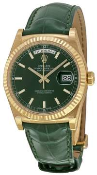 Rolex Day Date Green Dial 18K Yellow Gold Leather Men's Watch