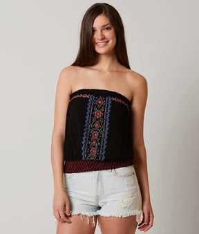 Eyeshadow Floral Embroidered Tube Top