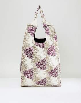 Asos Knot Handle Jacquard Shopper Bag