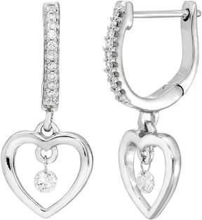 Brilliance+ Brilliance In Motion Brilliance in Motion Sterling Silver 1/6 Carat T.W. Diamond Heart Drop Earrings