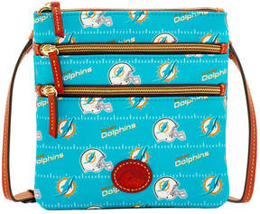 Dooney & Bourke Miami Dolphins Nylon Triple Zip Crossbody - AQUA - STYLE