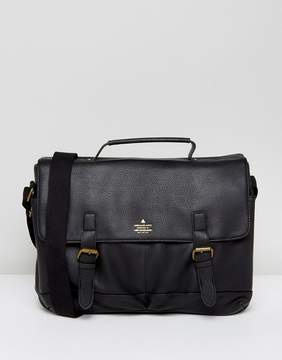 Asos Satchel In Black Faux Leather With Gold Emboss
