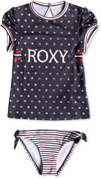 Roxy 2-Pc. Stars & Stripes Rash Guard Swim Set, Little Girls