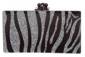 Edie Parker Jean Glitter Zebra Clutch