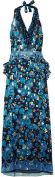 Anna Sui Curtain Of Stars Printed Fil Coupé Silk-blend Chiffon Halterneck Dress - Blue