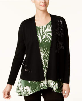 Alfani Sequined-Applique Open-Front Sweater, Created for Macy's