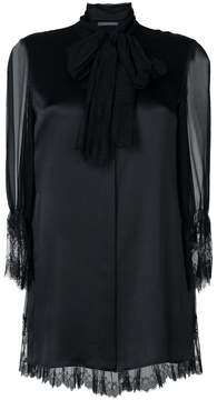 Alberta Ferretti lace trim sheer sleeve top