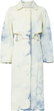 Esteban Cortazar Tie-Dye Denim Trench Coat