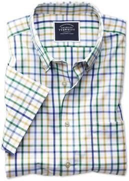Charles Tyrwhitt Slim Fit Button-Down Non-Iron Poplin Short Sleeve Green Multi Check Cotton Casual Shirt Single Cuff Size XL