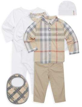 Burberry Baby's 6-Piece Hat, Bib, Bodysuit, Coverall, Shirt & Pant Set