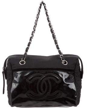 Chanel Quilted Grosgrain & Patent Leather Handle Bag