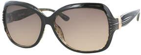 Kay Unger Black Tara Round Sunglasses
