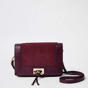 River Island Purple croc embossed panel cross body bag