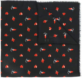 Saint Laurent red heart, lightning bolt and flame print scarf