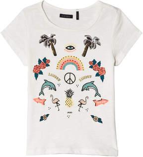Ikks White Sequin and Diamante Tropical Print T-Shirt