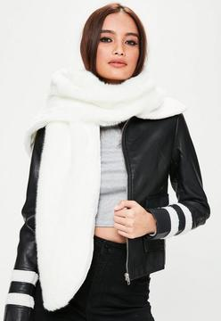 Missguided White Faux Shawl Scarf