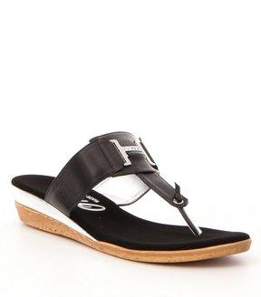 Onex Harriet Rhinestone-Embellished Leather Thong Sandals