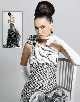 Blush Lingerie One Shoulder Ruffled Long Dress 9047