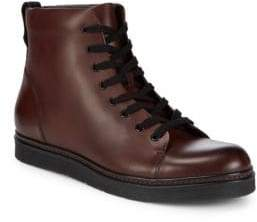 Vince Leather Lace Up Boots