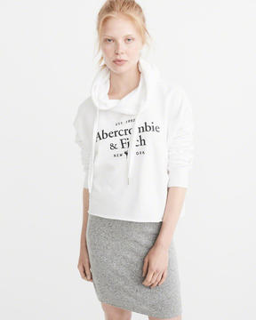 Abercrombie & Fitch Cropped Logo Hoodie