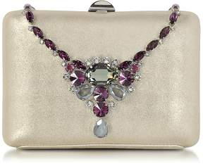 Rodo Laminated Suede Collier Clutch w/Crystals