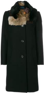Kolor patched fur collar coat
