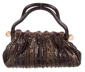 Bvlgari Metallic Ribbed Python Handle Bag