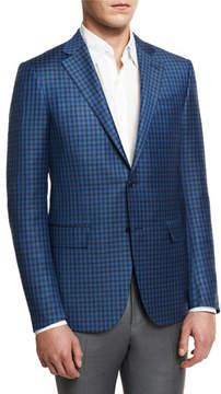 Ermenegildo Zegna Check Two-Button Sport Coat, Blue