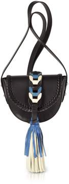 RED Valentino Black Ivory Agate Blue Leather Crossbody Bag W/oversized Tassel