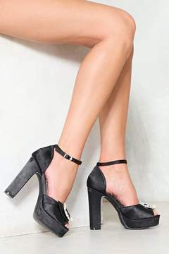 Nasty Gal Satin the Frow Embellished Heel