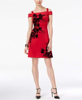 ECI Flocked Fit & Flare Dress