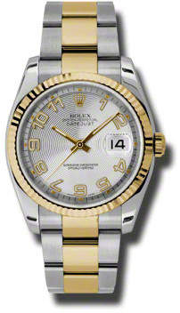Rolex Oyster Perpetual Datejust 36 Silver Concentric Dial Stainless Steel and 18K Yellow Gold Bracelet Automatic Men's Watch