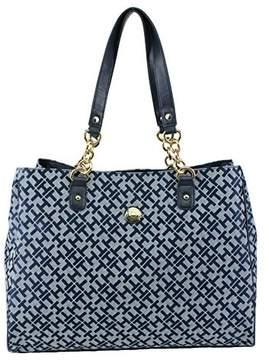 Tommy Hilfiger Signature Jacquard Tote Handbag, Navy Multi