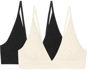 Base Range Baserange - Set Of Two Ribbed Stretch-organic Cotton Soft-cup Bras - White