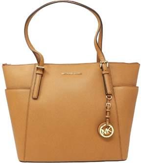 Michael Kors Women's Large Jet Set Saffiano Leather Top Zip Top-Handle Bag Tote - Acorn - ACORN - STYLE