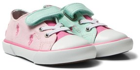 Ralph Lauren Pink Colourblock Kody Velcro and Lace Trainers