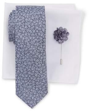 Ben Sherman Park Floral Tie, Pocket Square, & Lapel Stick Pin Set