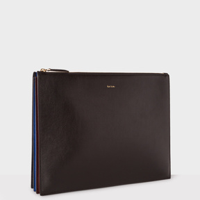 Paul Smith Men's Black 'Concertina' Document Leather Pouch