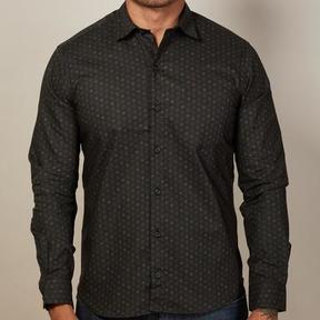 Blade + Blue Black Geometric Floral Print Shirt - Clark