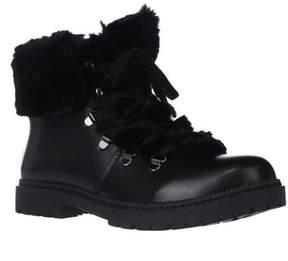 INC International Concepts I35 Pamelia Faux Fur Combat Boots, Black.