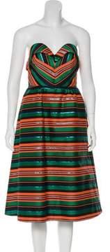 DELPOZO Striped Strapless Dress w/ Tags