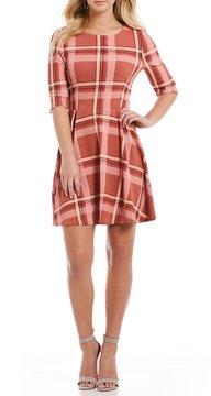 Copper Key Plaid 3/4 Sleeve Swing Dress