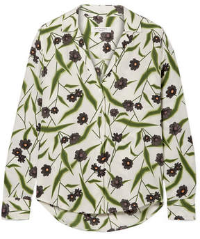 Equipment Adalyn Floral-print Washed-silk Shirt - White