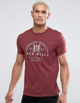 Jack Wills Westmore Front Graphic T-Shirt In Damson