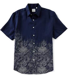 Murano Slim-Fit Placed Print Short-Sleeve Slim Fit Woven Shirt